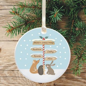 Ceramic Keepsake Merry Christmas Tree Decoration - Signpost Design